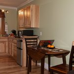 Dining table & view of kitchen