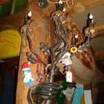 artsy lamp in entry
