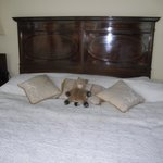 Our bed with my stuffed animal looking very happy
