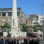 Busy Dam Square, Great location just outside the hotel