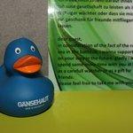 Free rubber duck (goose?) in the bathroom!