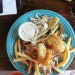 fish and chips with cheesy garlic fries