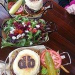 Hamburger (top), Salad, vegetarian burger