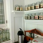 Coffee and tea selection in dining area