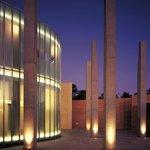 Museum courtyard at night