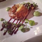 mixed mushroom and eschallot pithivier on a beetroot glaze with pea mousseline