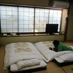 Tatami mats and futon. Air con works great!