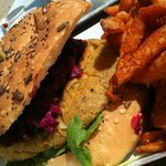 Chickpea Burger & Sweet Potato Fries