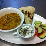 new on the menu today! Yellow Lentil Curry with mint yoghurt and flat bread! heavenly! for £6.50