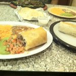 steak fahitas and chimichanga with side burrito