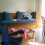 Our own camping chair featured with their sofa bed. 'Scuse the mess - we did tidy up!
