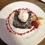 Chocolate brownie and raspberry ice cream