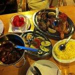 """buzara"" scampi, grilled veggies, grilled calamari and scarpena (fish) and polenta"
