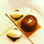 Chocolate volcano with mint ice cream