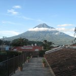 Volcan Agua, as seen from top balcony