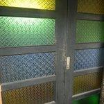 stainglass sliding door