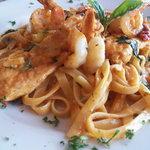 Chickin and Shrimp Fettucine Florentine with Rosa Sauce