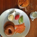 delicious bagel with cream cheese and lox (smoked salmon)