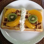 cranberry Belgium waffles with peaches and kiwi