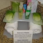 Great freebies - toothpaste, makeup removing face wipe, Bath and Body Works toiletries