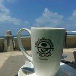 café latte by the sea