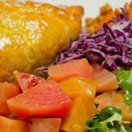 Moroccan spiced lamb pasty with salad