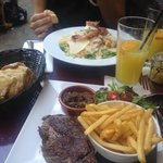 Chicken Caeser Salad and Steak and chips!