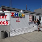 Walk up service at the world's best hot dog stand.
