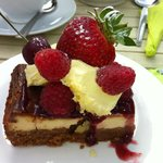 Twice baked cheesecake with clotted cream and berries .....mmnnnn!