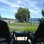 View of the great lawn and Lake George from the Veranda