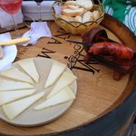 Tasty sausage and manchego