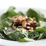 Cranberry Spinach with spicy almonds and craisins
