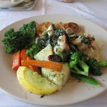 Alaskan halibut with shrimp Florentine sauce