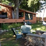 log cabin on the lake.