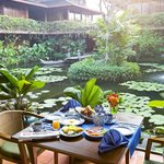 Breakfast at l'Auberge des Temples by the pond
