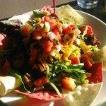 Taco salad with extra homemade salsa