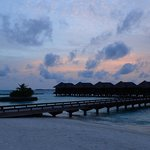 Twilight over water bungalows