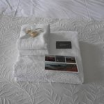 Our Towels with post card and complimentary fudge - nice touch! :)