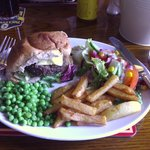 Homemade burger, peas, salad and TWICE fried HOMEMADE chips. Excellent - thank you Gill & Tom!