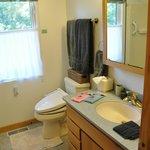 Full bath has shower/tub complimentary Japanese washcloths as a gift