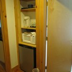 common hallway has mini fridge/ microwave and hot water pot
