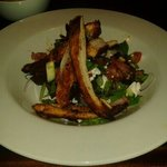 cajun chicken with smoked bacon and goats cheese and pine nut salad