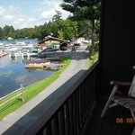 Afternoon view from balcony of Old Forge Pond looking toward marina.
