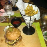 The Famous Mojoan Burger - Bacon, cheddar cheese, mushrooms and onions. The presentation was gre