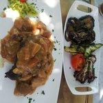 filetto con porcini e verdure grigliate