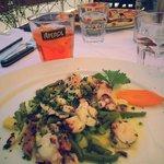 Octupus salad and aperolspitz