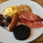 Wonderful cooked Scottish breakfast with Stornoway black pudding.