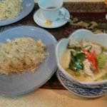 Thai green curry and egg fried rice