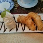 Hot banana fritters and ice cream.