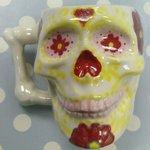 flowery skull mug